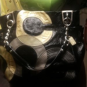Coach leather abstract tote bag
